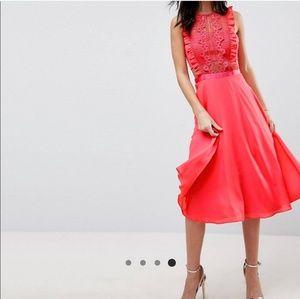Bright red ASOS midi- dress